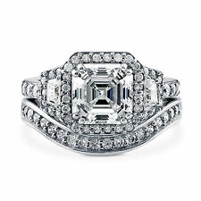 Asscher Cut 4.01 Ct Diamond Wedding Band Sets Solid 14K White Gold Ring Size M N