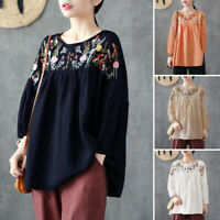 ZANZEA Women Embroidered Floral Top Tee Shirt Loose Baggy Pullover Ladies Blouse