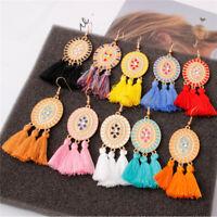 New Fashion Women Crystal Long Tassel Earrings Dangle Statement Bohemian Jewelry