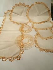 New listing Set Of 8 Vintage Hand Crocheted Floral Orange Ivory Linen Doilies runners