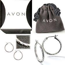 """Sterling Silver 1"""" Textured Hoop Earrings with Crossbar Snap Closure NIB Avon"""