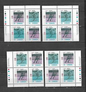 pk62389:Stamps-Canada #1112a Winter Olympics 34 cent Plate Block Set - MNH