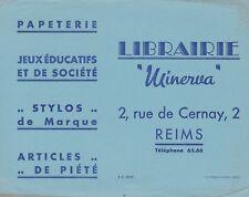 W97 BUVARD Librairie MINERVA 2, Rue de Cernay REIMS papeterie jeux stylos piété