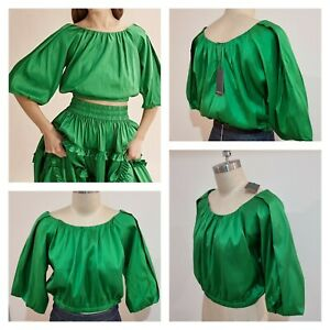 BNWT COUNTRY ROAD Silk Blouse Size 14 L |  VIVID GREEN Top | * LIMITED EDITI0N *