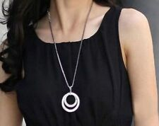 Silver Plated Pendant Necklace Gift Long Chain Women Fashion Crystal Rhinestone