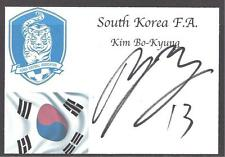 A 13cm x 7.5cm White Card with Flag & Badge Signed by Kim Bo-Kyung, South Korea.