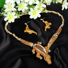 Vintage Crocodile Topaz Austrian Crystal Necklace Earrings Set Animal Women