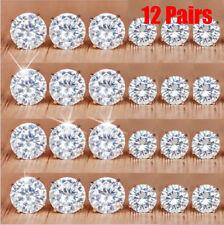 12Pairs Crystal Zircon Stainless Steel Earrings Fashion Ear Stud Lady Jewelry