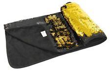 BLACK GOLD SEQUIN FLIP COLOUR CHANGE MERMAID BED RUNNER THROW 65CM X 200CM