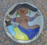 """Mexican Oaxaca ceramic mermaid plate signed by late DOLORES PORRAS 12 5/8"""" diam."""