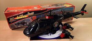 VINTAGE BLACK THUNDER HELICOPTER TOY POLICE