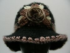 BLACK AND BROWN - POLY KNIT - ONE SIZE STOCKING CAP BEANIE HAT!