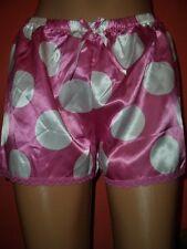 Geniales Sissy Satin Glanz Höschen Satinslip Shorty UK 8 / 36 pink/weiß (H984)