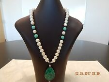 """19"""" pearl necklace with agate /crystal stones and amazonite pendant"""