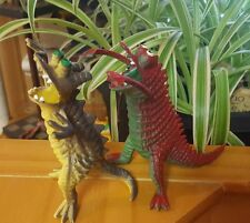 Vintage lot of 2 Unknown  Plastic/ Rubber Monster Dinosaur Motu Warrior Beasts??