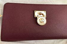 NWT Michael Kors Hamilton Traveler Zip Around Merlot Wallet