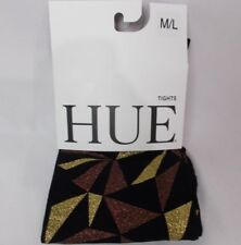 Hue Women's Geo Glitter Printed Tights Black/Gold Size M/L