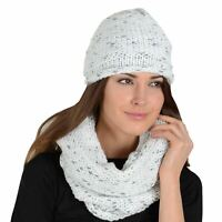 Pia Rossini Ladies Khloe Womens Beret Hat And Snood Ivory Knit Sparkle Thread
