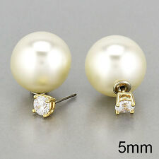 Front Back Trendy Urban Earrings Gold Pearl Round Cubic Zirconia Stud