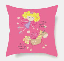 HORSE & WESTERN GIFTS HOME DECOR KIDS FAIRY & UNICORN CUSHION COVER PINK 16""