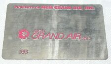 Rare Vintage MGM Grand Air Metal Ticket Validation Plate Travel Agency Airlines