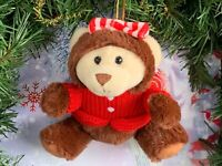 VERY RARE Hugfun Holiday Teddy Bear Plush Stuffed Animal Christmas Tree Ornament