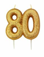 9cm Gold Glitter Number 80 Candle 80th Birthday Party Cake Decoration Supplies