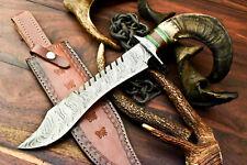 Rare Custom Handmade Damascus Steel Blade Bowie Hunting Knife   Ram's Horn