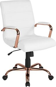 Mid-Back White Leather Executive Swivel Office Chair with Rose Gold Frame New