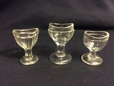 Vintage Lot Of 3 Glass Eye Rinse Wash Cups Antique Medicine