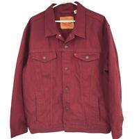 Levi's Womens 3XL XXXL Red Denim Trucker Jacket Ladies Casual Button Up