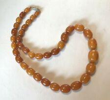 """Antique Amber Beads Bead Necklace, 22"""""""