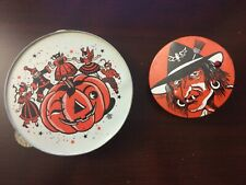 Vintage Halloween 1940s US USA Tin Witch NOISE MAKER & Jack O Lantern Tambourine