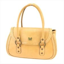 Anna Sui bag Hand bag Beige Gold leather Woman Authentic Used T9394