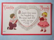 Antique Post Card 1915 Valentine, Tangled Up, embossed, #2205, S. Bergman, NY