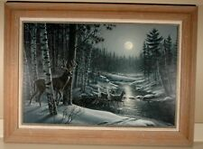 """MOON SHADOWS"" DEER SILVER SUITE SERIES ORIGINAL ACRYLIC PAINTING JAMES MEGER"