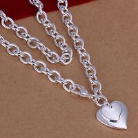WOMEN GIRLS 925 STERLING SILVER Filled Double Heart Necklace Heart Pendants