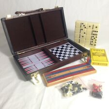 Travel Games Case Backgammon Chess Checkers Dominos Cards Cribbage Set Lot To Go