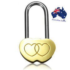 Solid Brass Love Lock Wish Lock Double Heart Padlock for Lovers Wedding