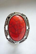 Poderosa + grande piedra joyas anillo rojo el Tíbet plata todos los tamaños de nuevo + Top, #001