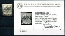 ÖSTERREICH 1850 2X grauschwarz + STUMMER STEMPEL BEFUND FERCHENBAUER (S0649