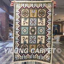 Yilong 2'x3' Handmade Vintage Garden Scenes Carpet Classic Silk Area Rugs Y378C
