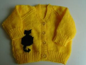 """New Hand Knitted Black Cat Cardigan 20/22"""" chest (aprox 12-18 months)"""