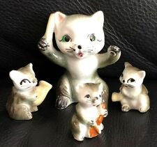 SET of 4 VINTAGE CAT KITTEN FIGURINE CERAMIC ORNAMENT COLLECTABLE ANIMAL LOVERS