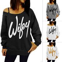 Women Off Shoulder Letter Printed Jumper Top Sport Loose Casual Pullover Shirt