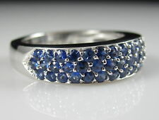 Sapphire Band 14K White Gold Ring Blue Anniversary European Shank 1.96ctw sz 7