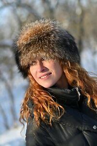 Raccoon Fur Hat for Women, Winter Tail Hat, Davy Crockett, Handmade by LITVIN