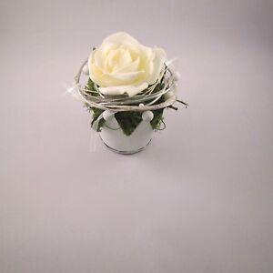Tischgesteck Tischdeko Hochzeit Kommunion Taufe Krone Rose
