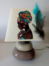 lampe de chevet creacat peint main thème Afrique femme Africaine Savane