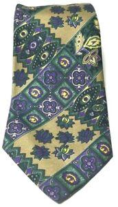 Gucci Tie Floral Patter 100% Silk Designer Luxury Purple Green Gold Vintage